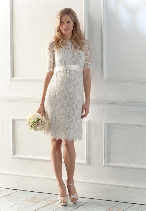 short lace vintage wedding dress with short sleeves