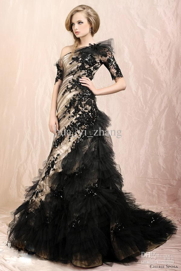 Looking elegant and modest with black wedding dresses with for Black designer wedding dresses
