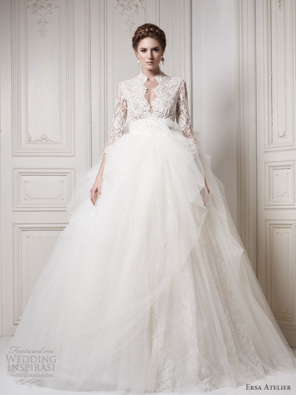Ersa Atelier ball gown wedding dress with lace 3/4 sleeves