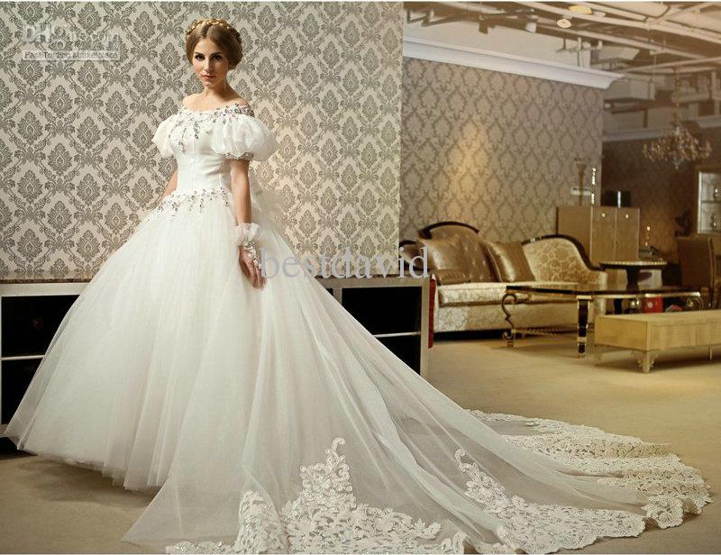 ball gown wedding dress with off the shoulder sleeves