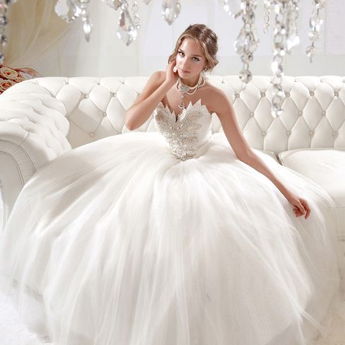 ball gown wedding dress with sparkling diamonds on chest