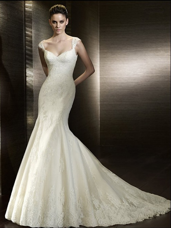 mermaid sweetheart wedding dresses with cap sleeves