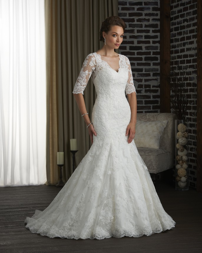 mermaid v-neckline wedding dress with sleeves