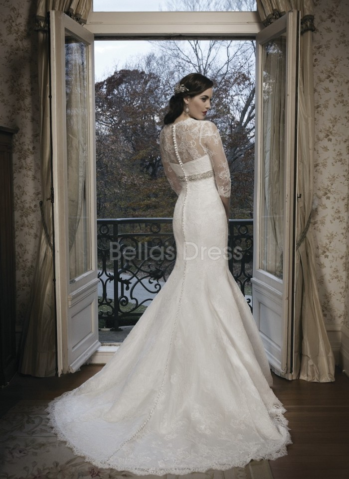 modest mermaid lace wedding dress with 3 per 4 sleeves