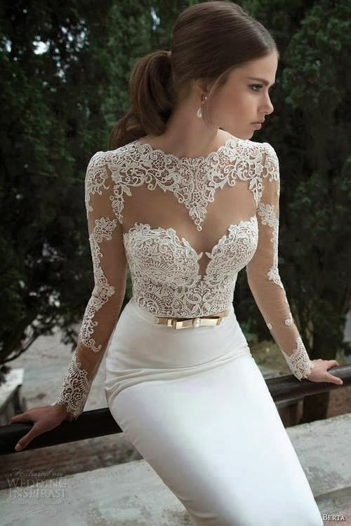 sexy mermaid lace wedding dress with long sleeves