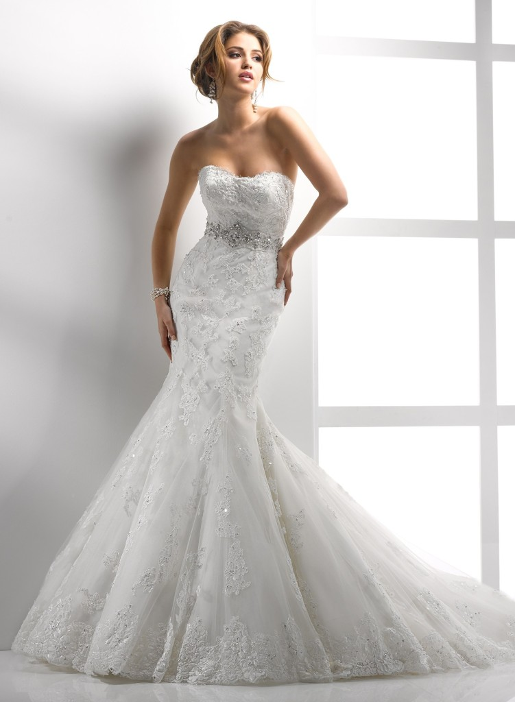 sexy mermaid lace wedding dress with sweetheart