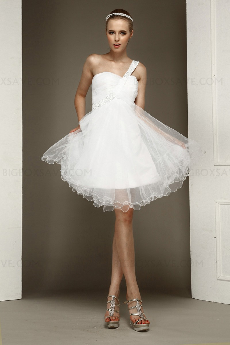 Short ball gown sweetheart wedding dress with one for Marry me wedding dresses