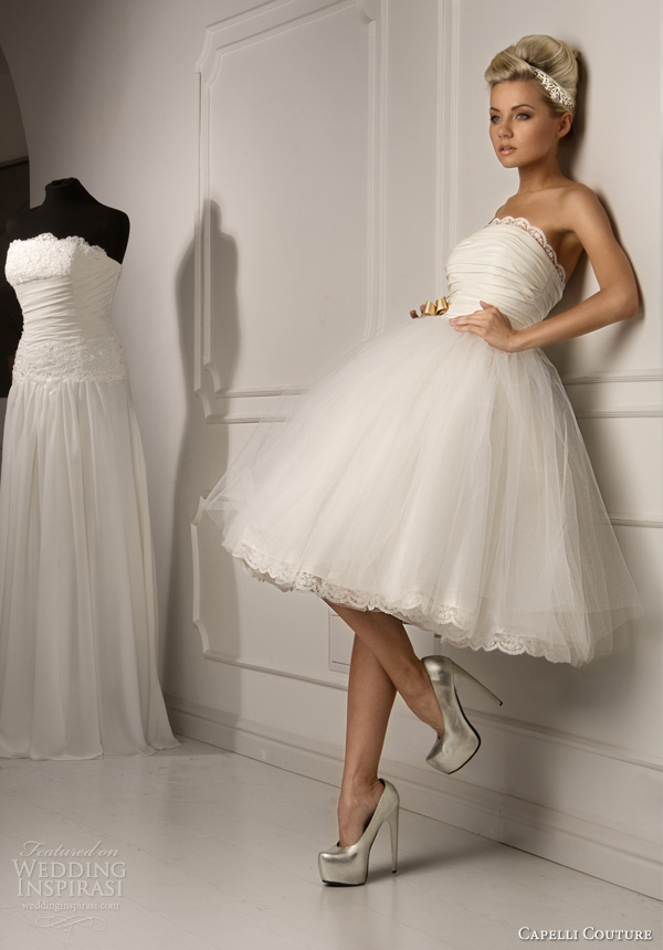 Simple Short Ball Gown Wedding Dress By Capelli Couture