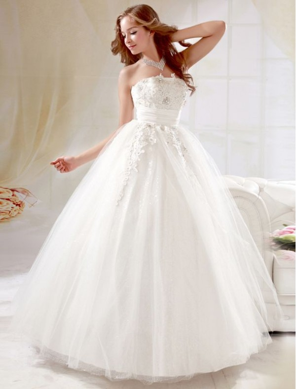 strapless ball gown tulle wedding dress with laceCherry Marry ...