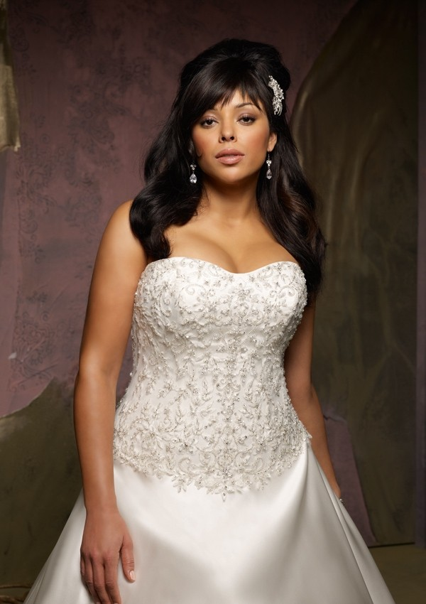 strapless plus size ball gown wedding dress with chapel trainCherry ...
