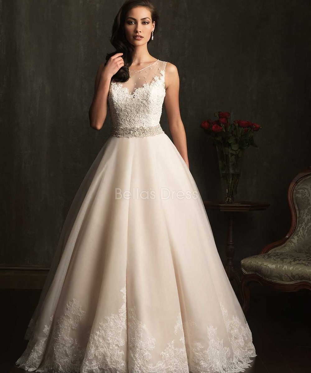 vintage lace ball gown wedding dress with cathedral train