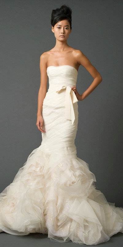 ivory organza mermaid wedding dress with floral train