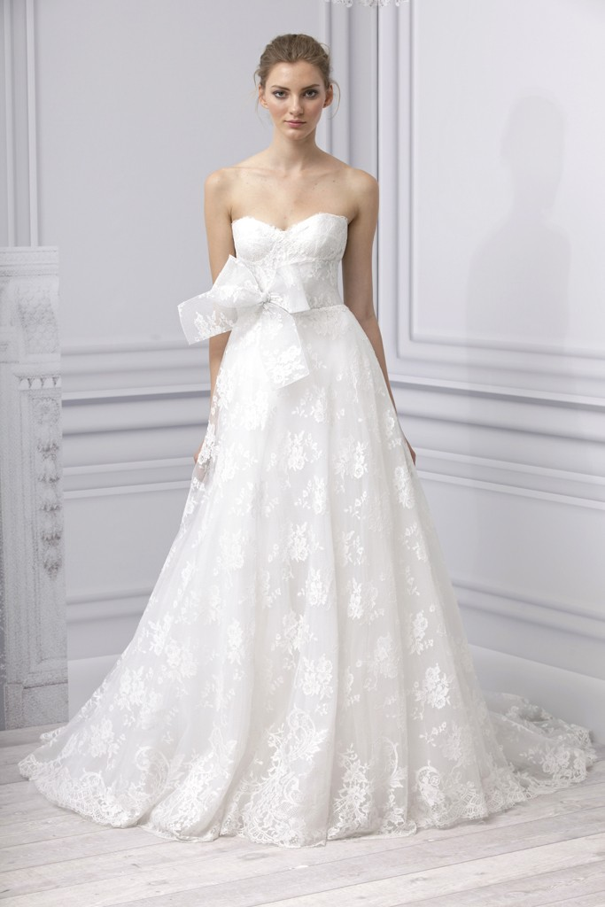 Lace a line wedding dress with strapless neckline by A line lace wedding dress australia