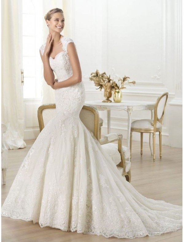 lace sweetheart mermaid wedding dress with lace sleeves