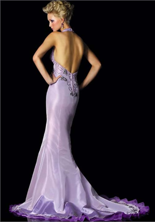 Light Purple Mermaid Wedding Dress With Open Back