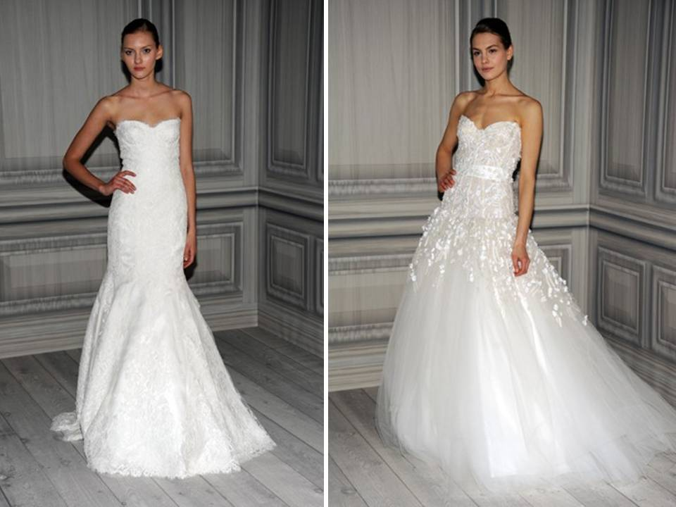 monique lhuillier lace mermaid ball gown wedding dresses