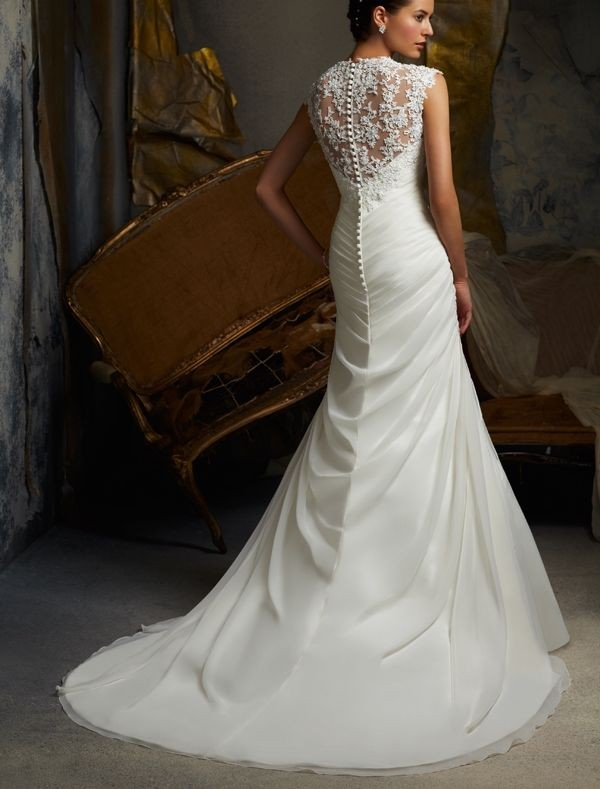 organza sweetheart neckline mermaid wedding dress with lace cap sleeves