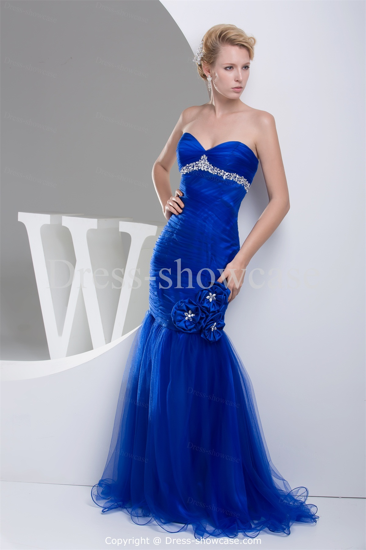 Wedding Dresses In Royal Blue : Royal blue wedding guest brush sweep train evening dress pictures