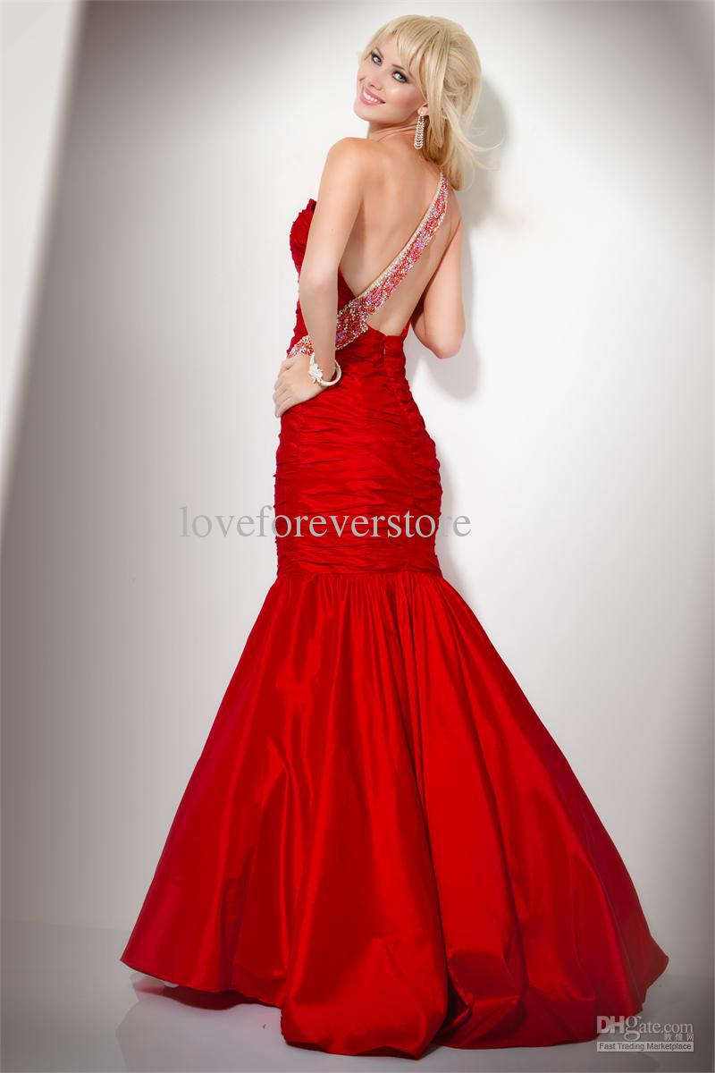 Sexy Red Mermaid Wedding Dress With One Shouldercherry