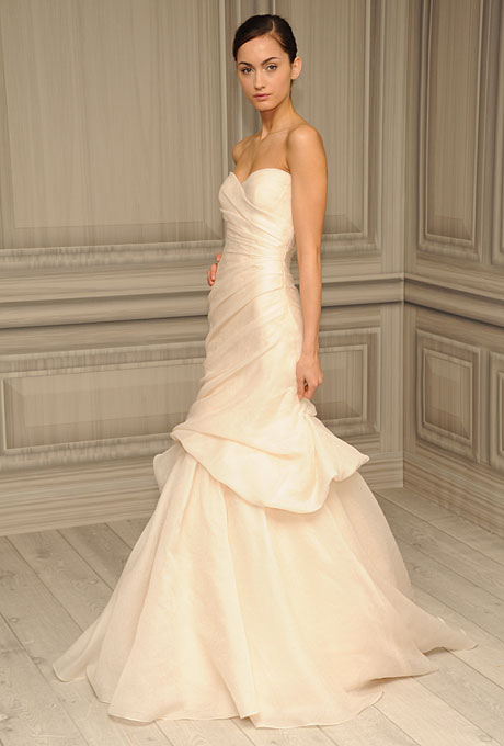 strapless chiffon mermaid wedding dress by monique lhuillier