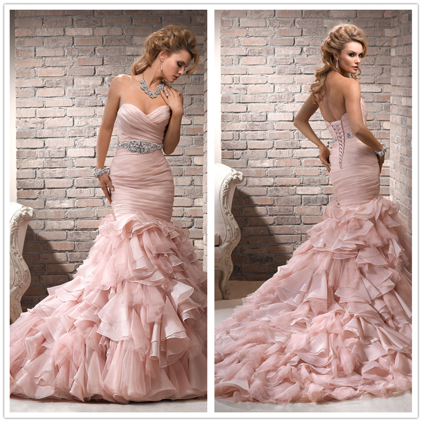 strapless sweetheart pink mermaid wedding dress with corset back