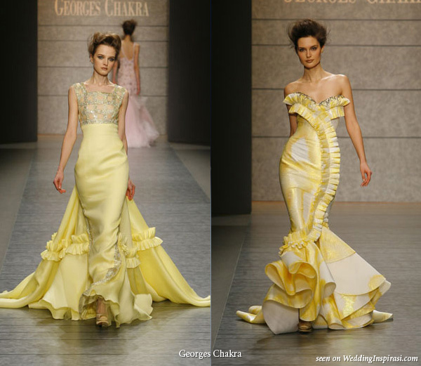 Elegant yellow mermaid wedding dresses cherry marry for Yellow dresses for weddings