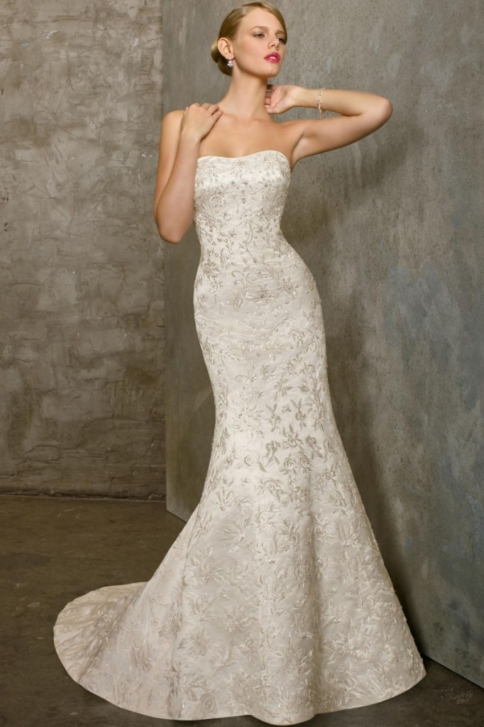 Vintage Strapless Lace Mermaid Wedding Dress With Floor LengthCherry Marry
