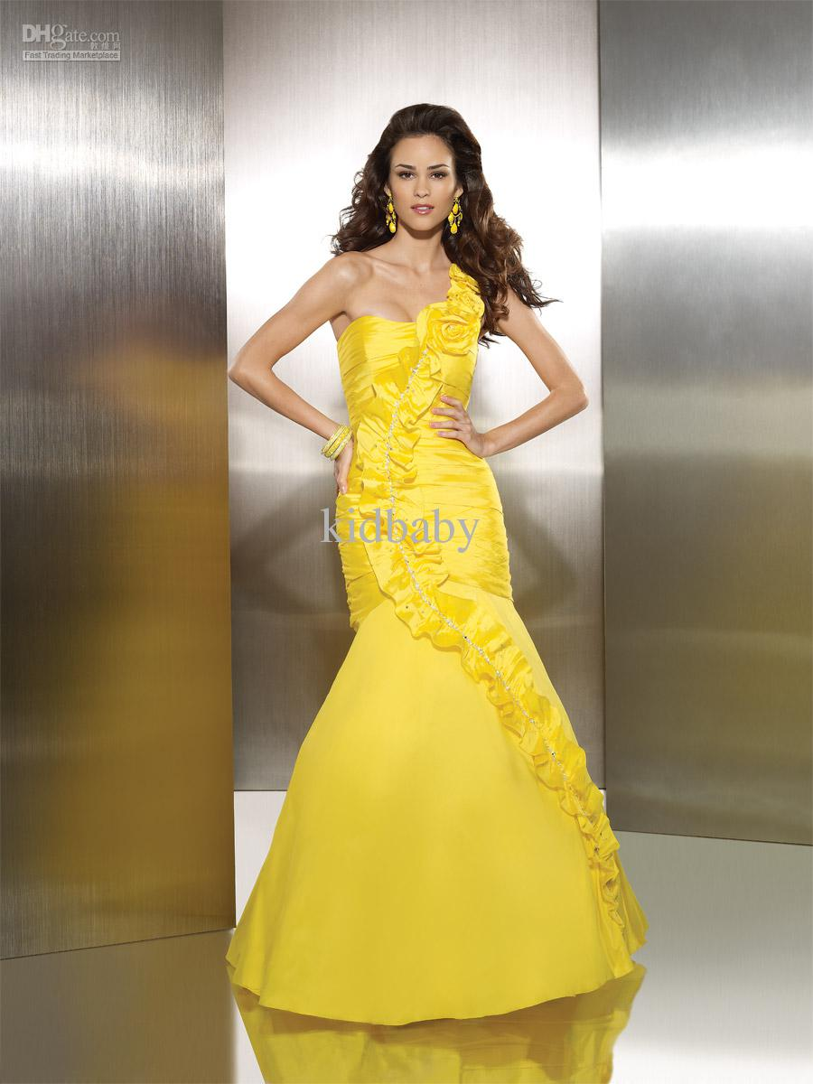 yellow mermaid taffeta wedding dress with one shoulder