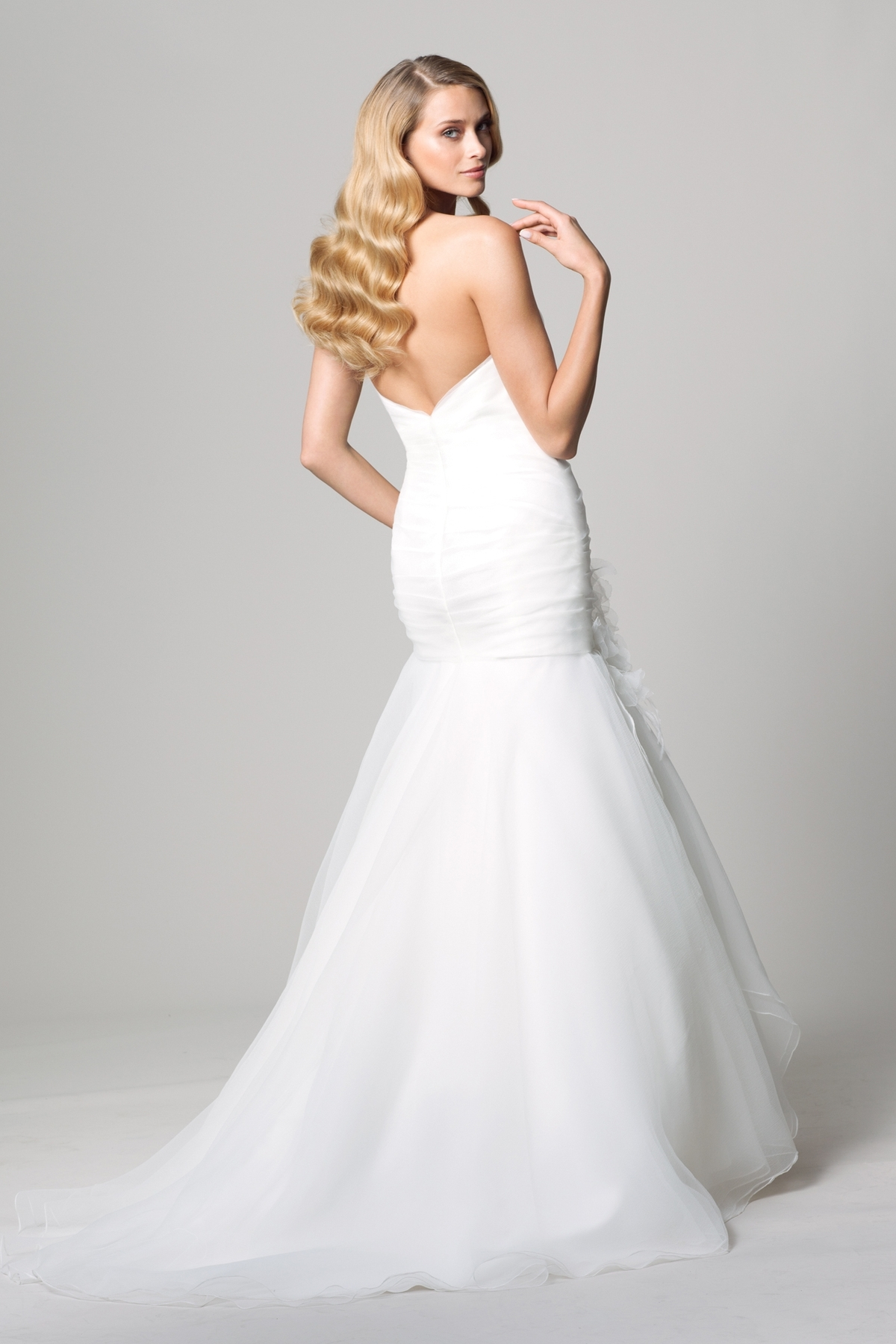 cheap tulle strapless mermaid wedding dress