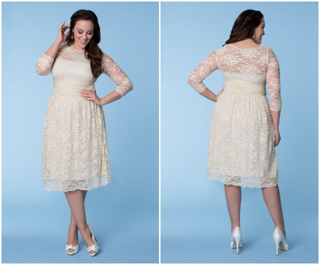 rustic plus size lace wedding dress with tea length