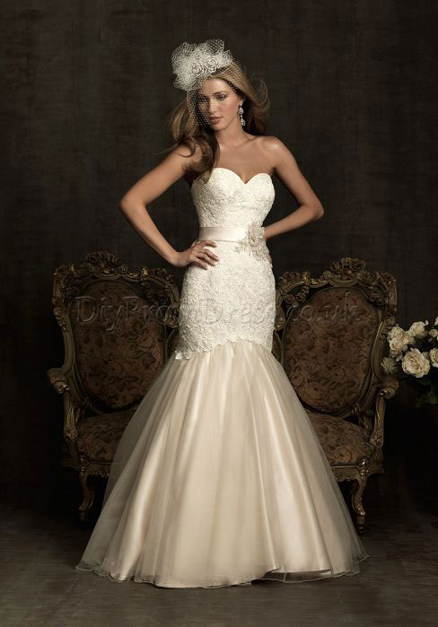 rustic sweetheart mermaid wedding dress