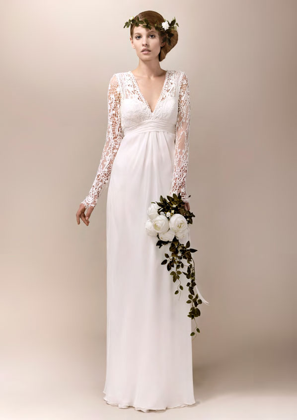 Gallery of vintage embroidered white v-neckline wedding dress 1940 ...