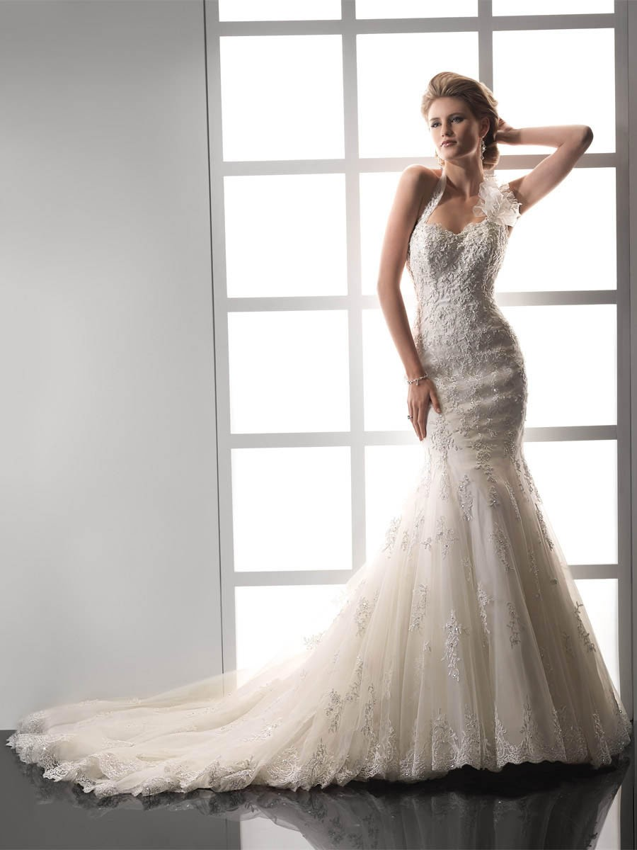 vintage halter beading mermaid wedding dress with chapel train