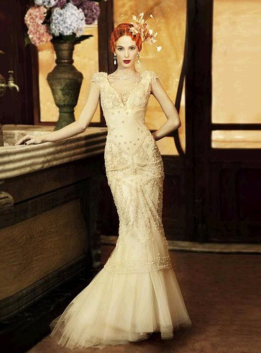 vintage mermaid golden wedding dress