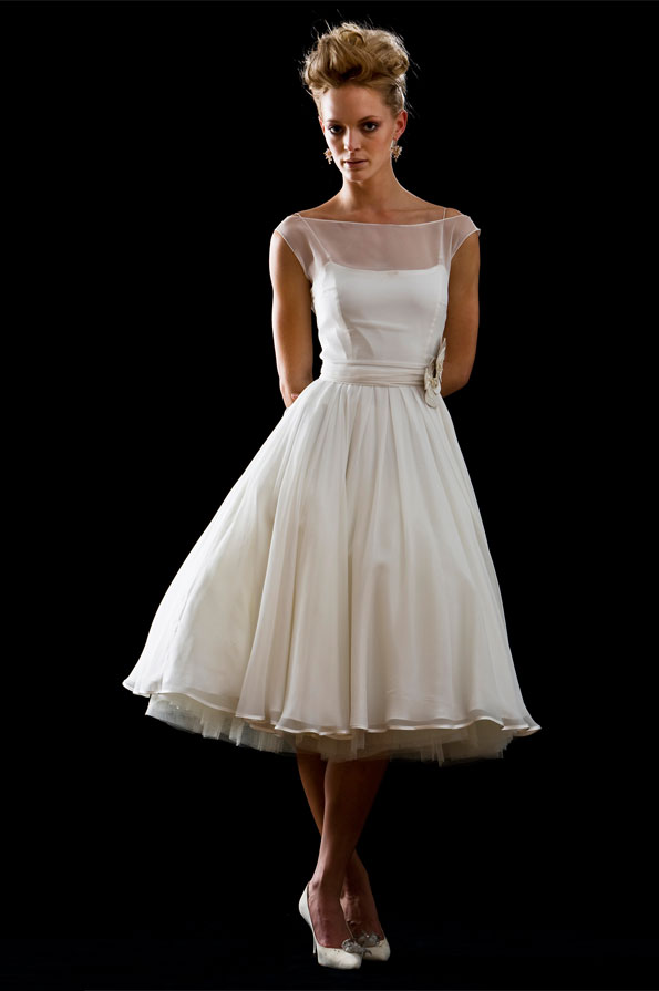 Charmant Vintage Tea Length Wedding Dresses