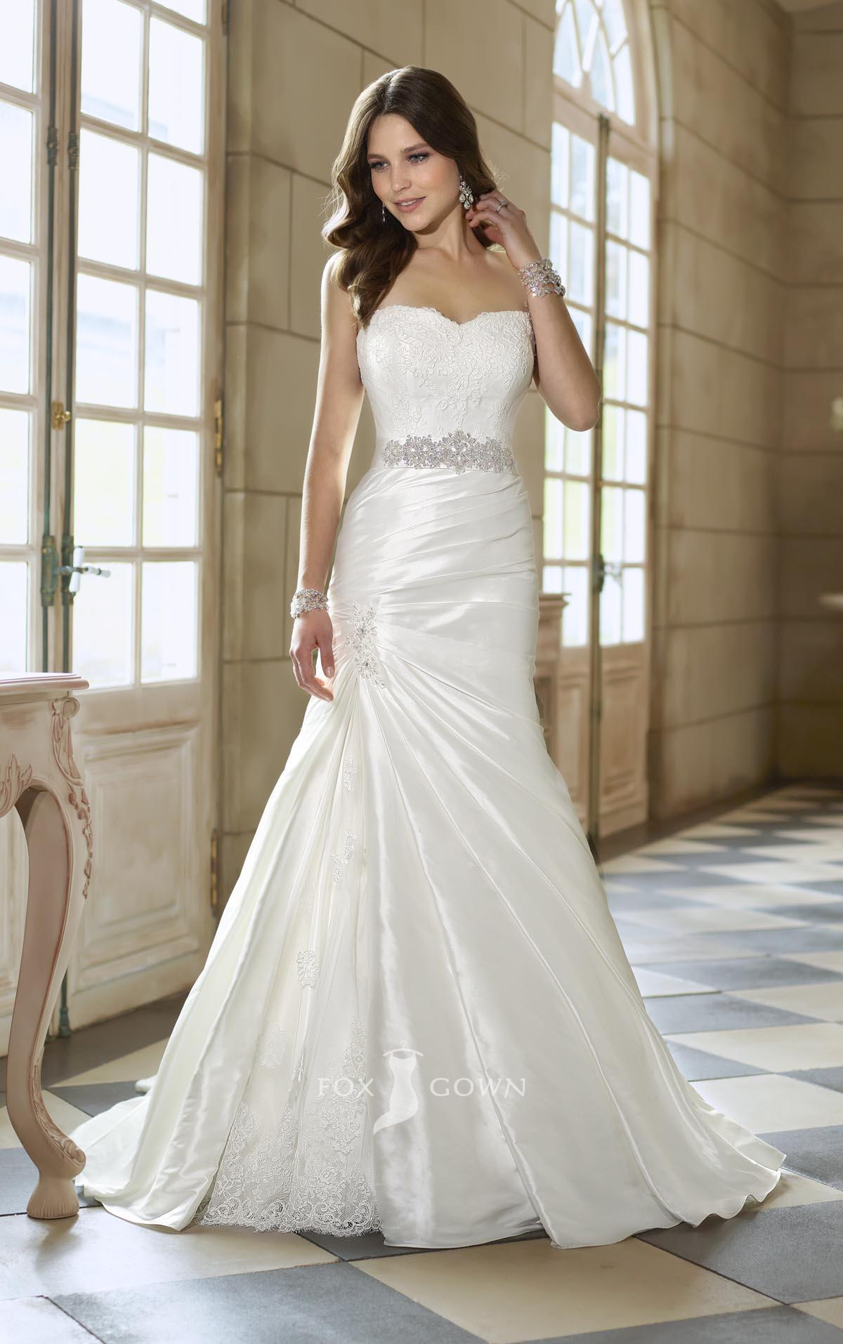 Sweetheart Strapless Lace A Line Split Wedding Dresscherry