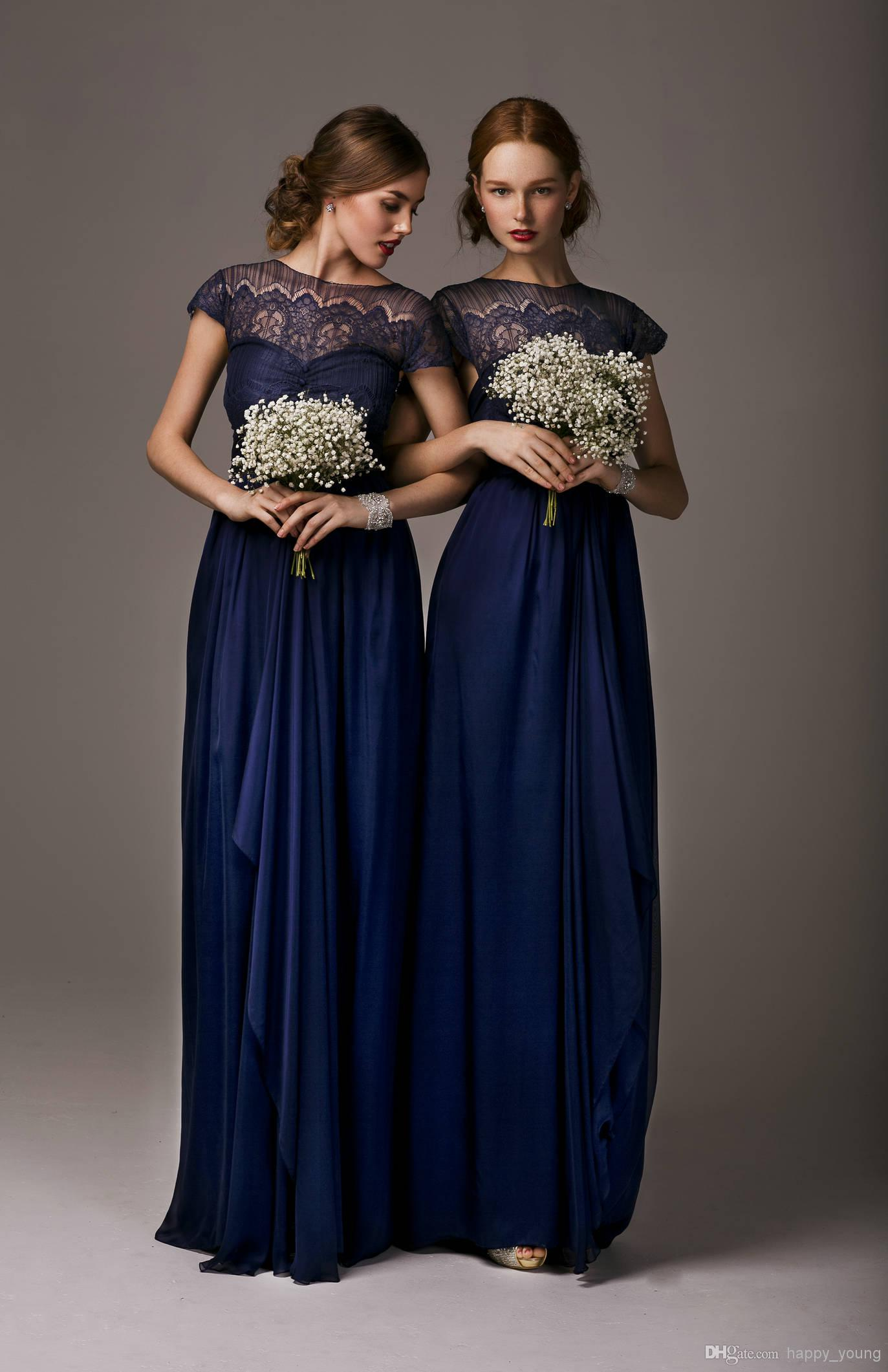 bridesmaid dresses with crew short sleeves