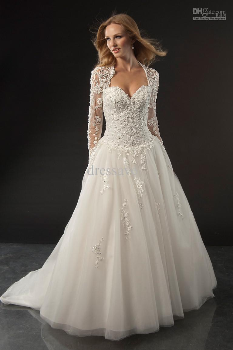 lace corset wedding dress with long sleeves
