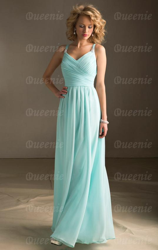 light blue bridesmaid dress with spaghetti straps