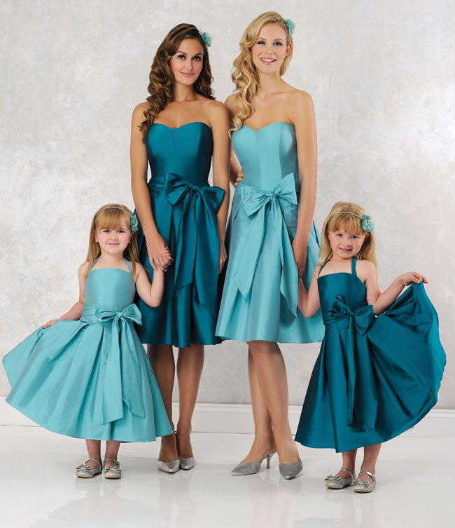 short and long bridesmaid dresses