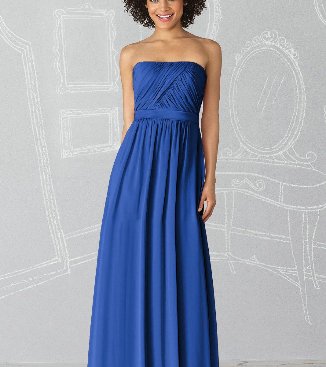 Simple blue strapless bridesmaid dresscherry marry for Marry me wedding dresses
