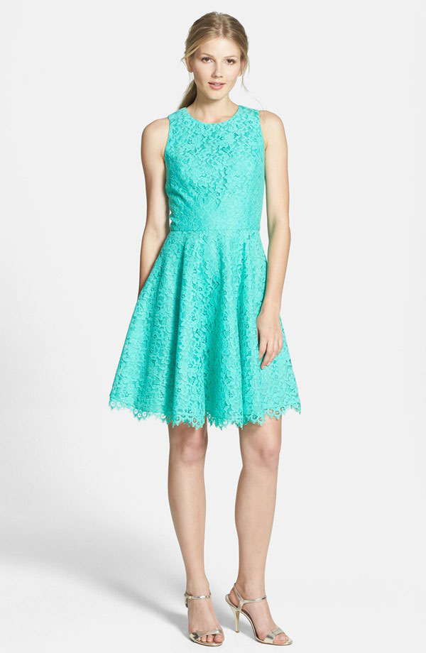 aqua blue short lace bridesmaid dress