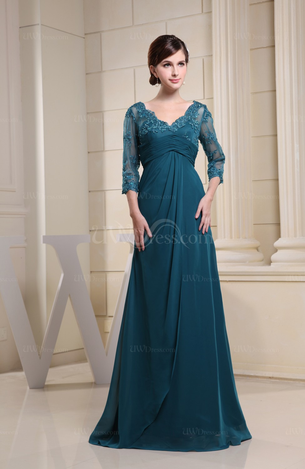 Elegant collection of light blue bridesmaid dresses with for Blue wedding dress with sleeves