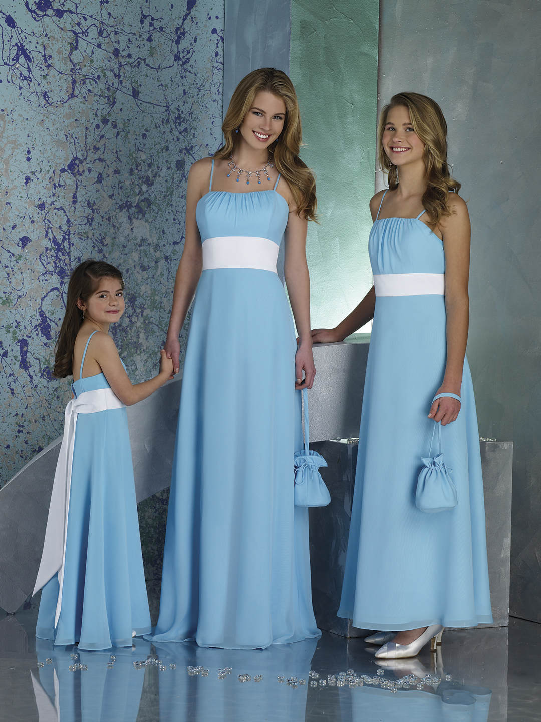light blue bridesmaid dresses with white and spaghetti straps