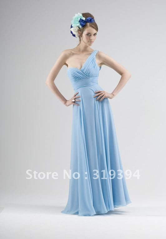 light blue chiffon bridesmaid dress with one shoulder