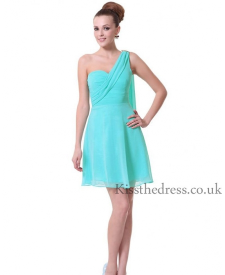 light blue chiffon short bridesmaid dress with one shoulder