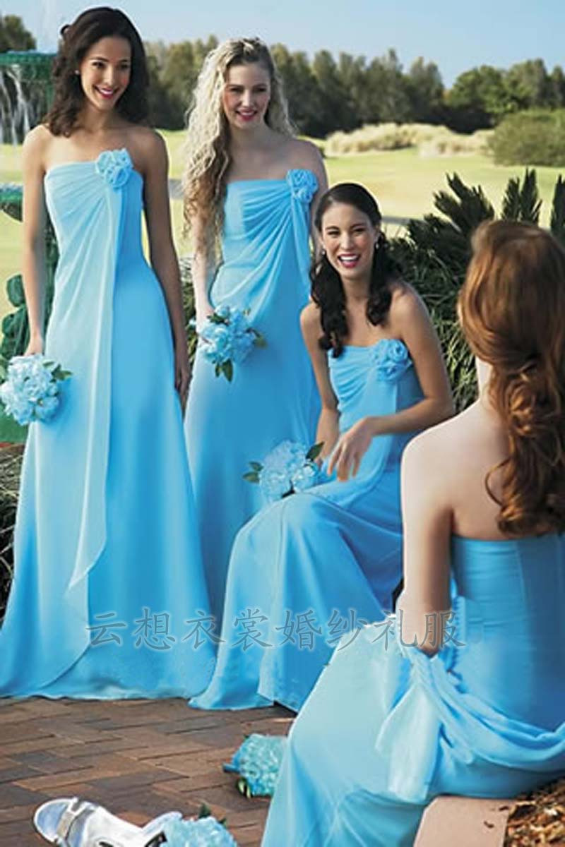 Light Blue Chiffon Strapless Bridesmaid DressesCherry Marry