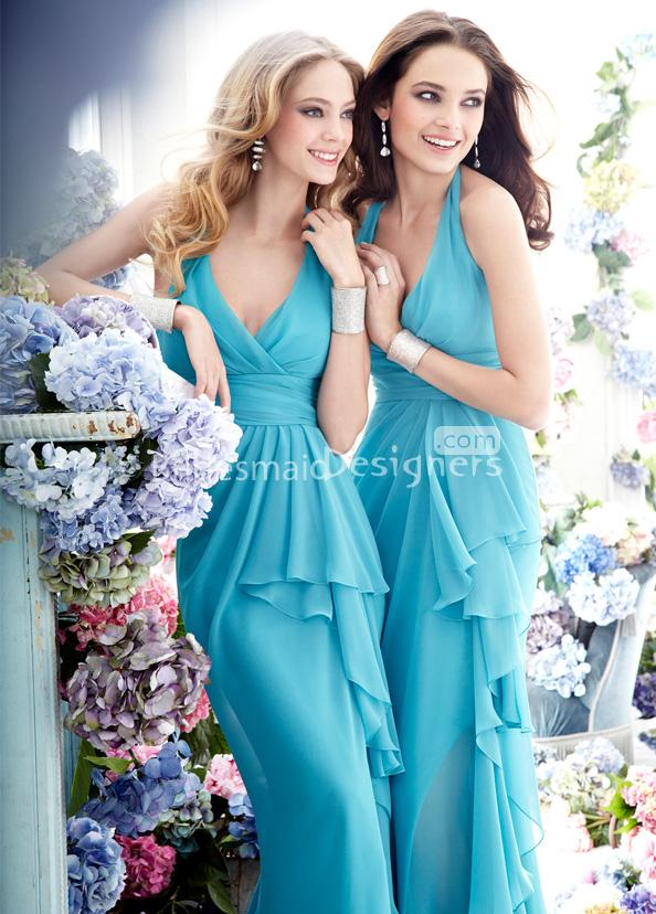light blue ruffled chiffon bridesmaid dresses with a-line hemline