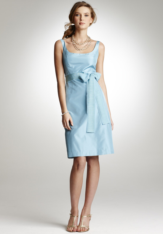 light blue short bridesmaid dress with straps