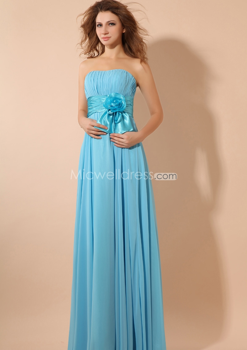 light blue strapless chiffon bridesmaid dress with floor length